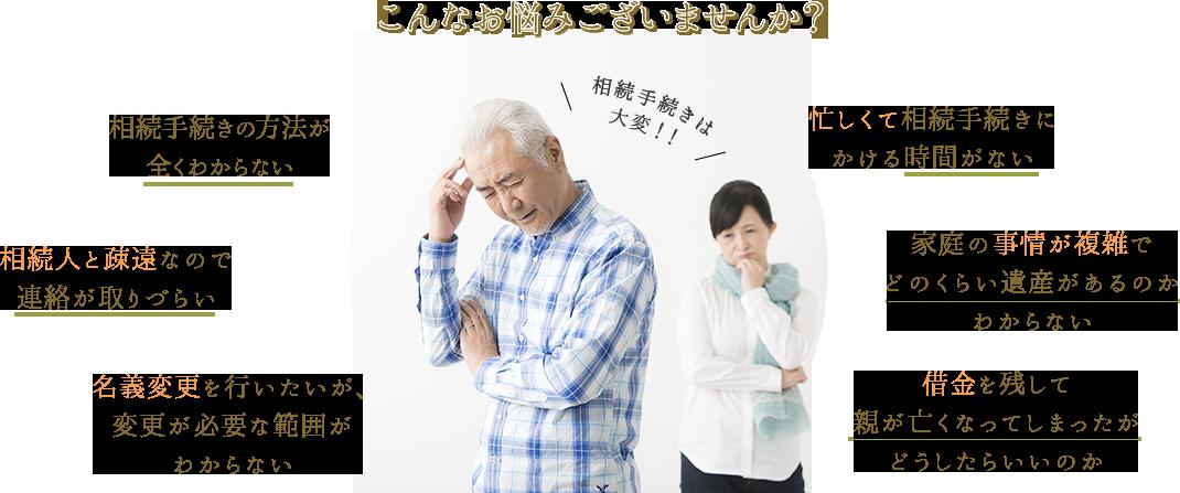 こんなお悩みございませんか?そのお悩み、お気軽にご相談ください。司法書士の吉村が最初から最後まで解決に向けて迅速・着実・丁寧にご対応いたします。